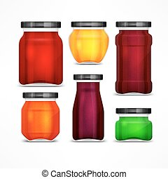 Set of jars with jam