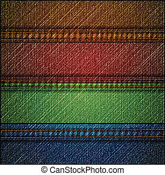 Set of jeans cloth texture. Vector