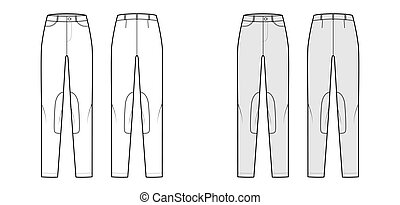 Set of Jeans Kentucky Jodhpurs Denim pants technical fashion illustration with low waist, rise, pockets, belt loops, full lengths. Flat front back, white, grey color style. Women men unisex CAD mockup