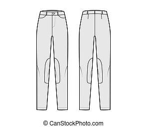 Set of Jeans Kentucky Jodhpurs Denim pants technical fashion illustration with low waist, rise, pockets, belt loops. Flat bottom apparel template front back, grey color. Women, men, unisex CAD mockup