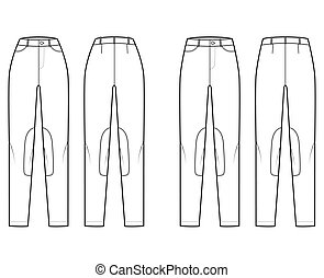 Set of Jeans Kentucky Jodhpurs Denim pants technical fashion illustration with normal low waist, high rise, belt loops, full lengths. Flat template front back, white color style. Women, men CAD mockup