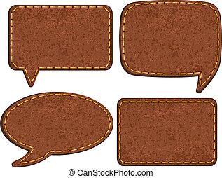 Set of jeans leather labels. Vector illustration