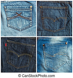 Set of jeans pockets backgrounds