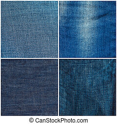 Set of jeans texture backgrounds