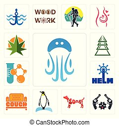 Set of jellyfish, revolver, year the dog, penguin, couch, helm, chemical company, ever tree, weed leaf icons