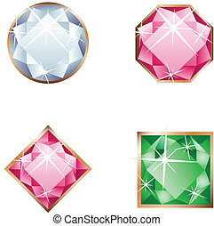 Different beautiful gemstone isolated on the white background