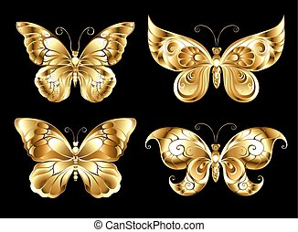Set of jewelry butterflies - Set of artistic, jewelry, gold...