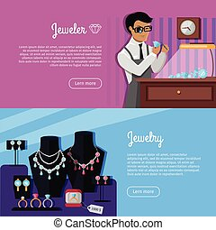 Set of Jewelry Concept Vector Web Banners