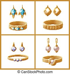 Set of Jewelry Items Golden Earrings with Pearls