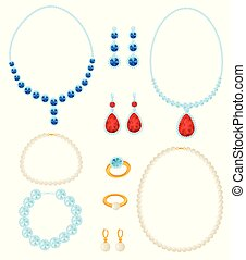 Set of jewelry. Vector illustration on white background.