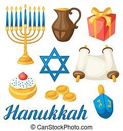 Set of Jewish Hanukkah celebration objects and icons.