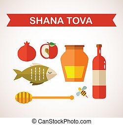 "set of Jewish new year icons. ""Happy New Year"" (Hebrew) - ..."