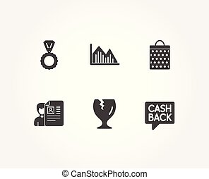 Job interview, Shopping bag and Medal icons. Fragile package, Investment graph and Money transfer signs.
