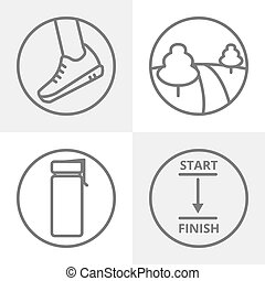 Set of jogging or running vector thin line icons