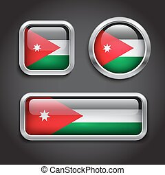 Jordan  flag glass buttons