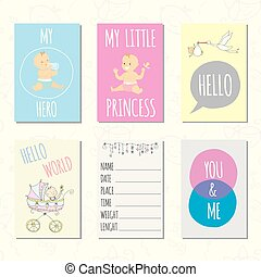Set of journaling cards for newborn baby.