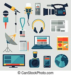 Set of journalism icons. Mass media and press conference concept symbols in flat style.