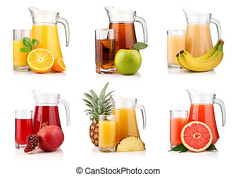 Set of jugs and glasses with tropical fruit juices isolated...