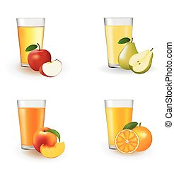 Set of juices in a glass