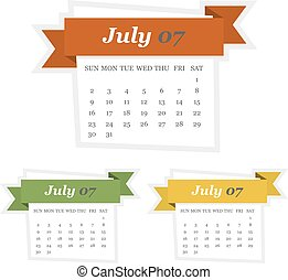 Set of July 2017 calendar with ribbon in a flat design