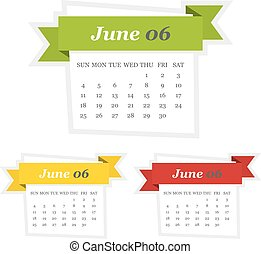 Set of June 2017 calendar with ribbon in a flat design