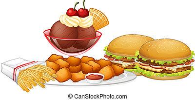 Set of junk food illustration
