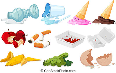 Set of junk on white background