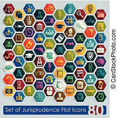 Set of jurisprudence flat icons for Web and Mobile Applications