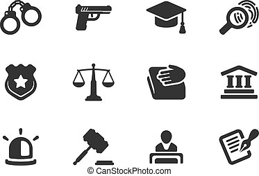 Set of justice and police icons - Set of black and white...