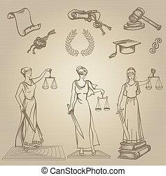 Set of justice or law symbols on brown background. Sketch. Vector illustration.