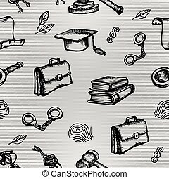Set of justice or law symbols on gray background. Sketch. Vector illustration.