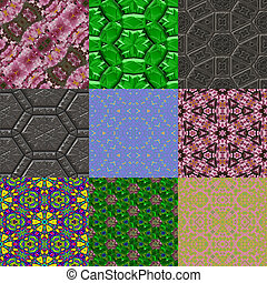 Set of kaleidoscopic seamless generated textures