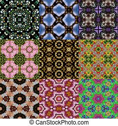 Set of kaleidoscopic seamless generated textures