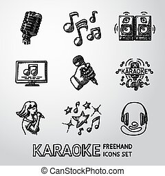 Set of karaoke singing freehand icons - microphone, notes, loudspeakers, tv-screen, hand with mic, cafe sign, singer, headphones. Vector