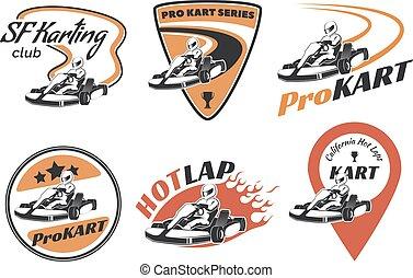 Set of kart racing emblems, logo and icons. Vector ...