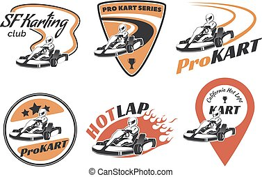 Set of kart racing emblems, logo and icons.Vector illustration with karting elements. Kart racer with helmet.