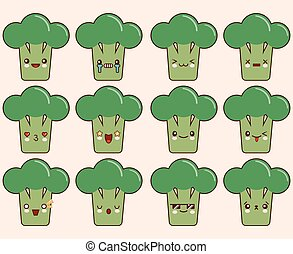 Set of kawaii broccoli emoticons. Isolated on light pink background. Flat design Vector Illustration