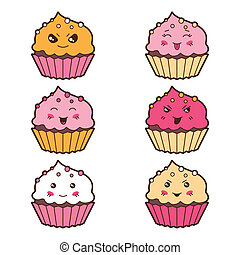 Set of kawaii cupcakess with different facial expressions.