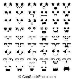 Set of kawaii face icon design. Vector illustration.