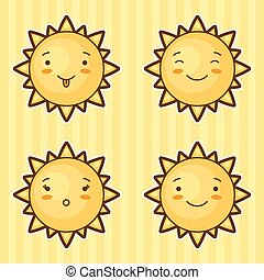 Set of kawaii suns with different facial expressions