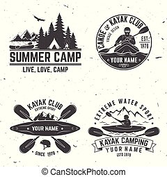 Set of kayak club badge. Vector illustration.