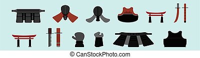set of kendo cartoon icon design template with various models. vector illustration isolated on blue background