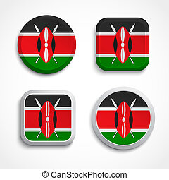 Kenya flag glass icons