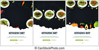 Set of Ketogenic Diet banners, Healty Keto food. Low carbs...