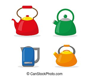Set of kettles in flat style. Vector illustration.