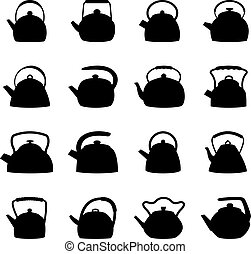 Set of kettles, vector illustration