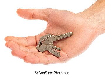 Set Of Keys On Human Palm