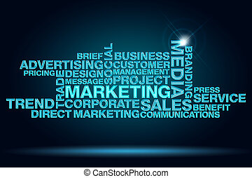 set of keywords of marketing on dark blue background