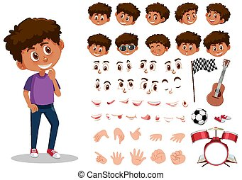 Set of kid character with different expressions on white background