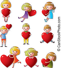 set of kid hug heart